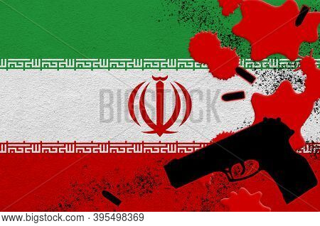 Iran Flag And Black Firearm In Red Blood. Concept For Terror Attack Or Military Operations With Leth