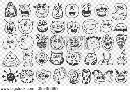 Monsters Doodle Set. Collection Of Hand Drawn Spooky Creatures Alliens Ugly Cyclops Beasts Mascots A