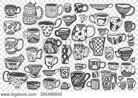 Cups Doodle Set. Collection Of Different Hand Drawn Decorated Coffee Tea Mugs Full With Beverages Is