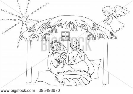 Hand Drawn Coloring Pages For Kids And Adult. A Christmas Nativity Scene Coloring Cartoon