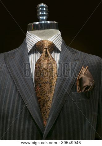 Grey Striped Jacket With Yellow Tie (vertical)