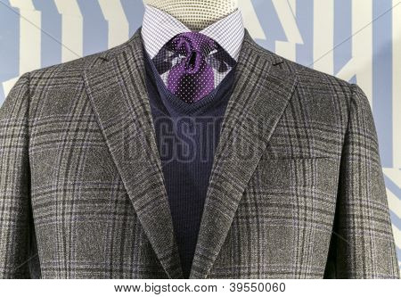 Grey Checkered Jacket With Blue Weater And Purple Tie (horizontal)