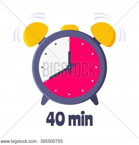 Forrty Minutes On Analog Clock Face Flat Style Design Vector Illustration Icon Sign Isolated On Whit
