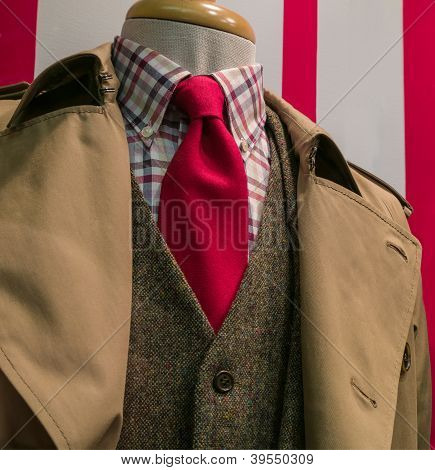 Tan Raincoat & Suit, Checkered Shirt, Red Tie