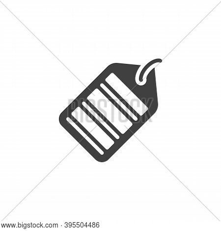 Barcode Price Tag Vector Icon. Filled Flat Sign For Mobile Concept And Web Design. Shopping Label Wi