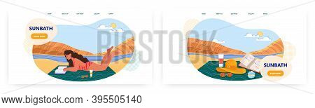 Woman Laying On A Beach And Reading Book. Summer Vacation Concept Vector Illustration. Holiday On A