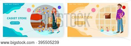 Woman Is Choosing A Coffin Or Casket For A Funeral. Cremation Concept Vector Illustration. Man Put U