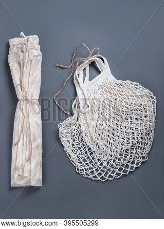 Two White Zero Waste String Bags And Three String Sacks For Fruits, Vegetables, Grocery Or Other Pro