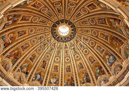 Rome, Italy - May 17, 2016: Dome interior of the Papal Basilica of Saint Peter in the Vatican (St Peter's Basilica)
