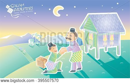 A Muslim Youngster Is Going Home To Visit His Father, With Malay Village Scene. Caption: Happy Hari