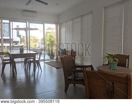 Denpasar, Indonesia - October 5, 2019: Interior Of A Common Living Room At Seruni Guest House.