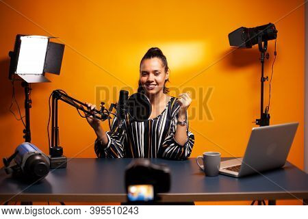 Famous Vlogger Recording Video Using Professional Recording Gear. Content Creator New Media Star On
