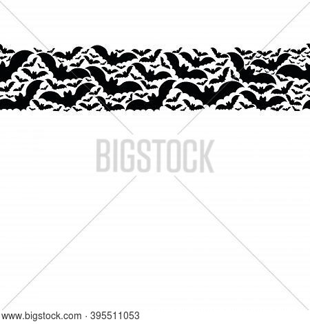 Bat. Silhouette. Seamless Vector Pattern. Isolated Colorless Background. Endless Horizontal Border.
