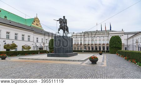 Warsaw, Poland - October 19, 2019: Statue Of Jozef Poniatowski In Front Of The Presidential Palace I