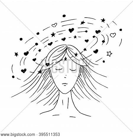 Dizzy. Doodle Style Girl Head With Signs And Symbols Around Her. Vector Illustration.