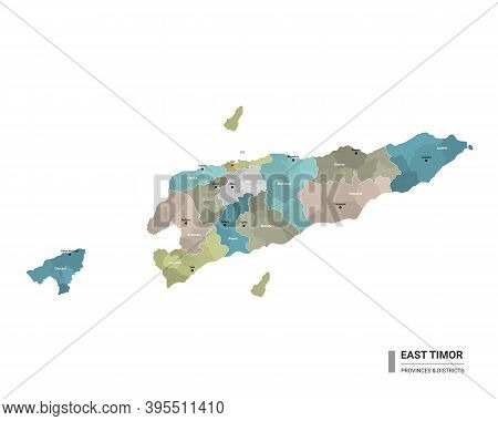 East Timor Higt Detailed Map With Subdivisions. Administrative Map Of East Timor With Districts And