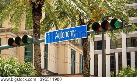 Street Sign The Direction Way To Autonomy