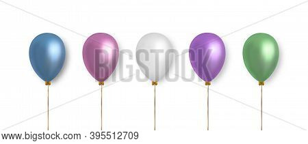 Balloons Set. Realistic Vector Clipart For Decoration. Multicolored Balloons In Pastel Color Isolate