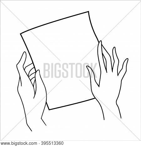 Black And White Hand Drawn Sketch Of The Female Hands Holding A Piece Of Paper Vector Illustration