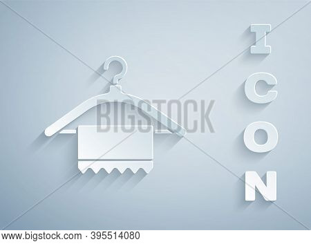 Paper Cut Hanger Wardrobe Icon Isolated On Grey Background. Clean Towel Sign. Cloakroom Icon. Clothe