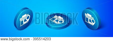 Isometric Location With Store Icon Isolated On Blue Background. Blue Circle Button. Vector Illustrat
