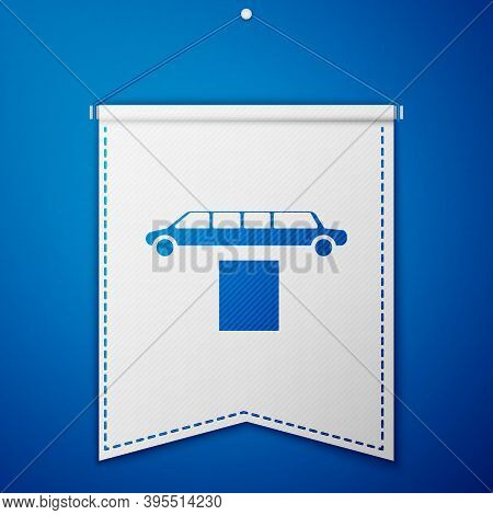 Blue Luxury Limousine Car And Carpet Icon Isolated On Blue Background. For World Premiere Celebritie