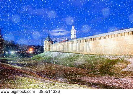 Winter Night In Veliky Novgorod, Russia. Veliky Novgorod Kremlin Fortress In Winter Snowy Night Duri