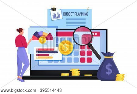 Personal Or Family Budget Planning Financial Vector Illustration With Dollars, Coins, Woman, Laptop,