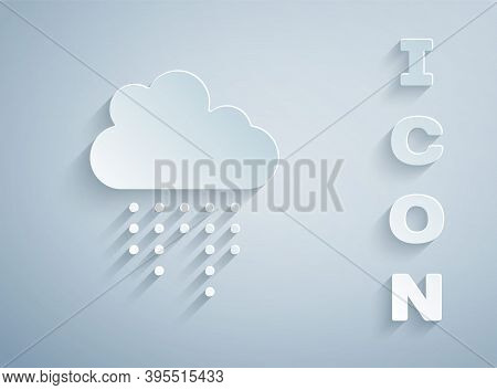 Paper Cut Cloud With Rain Icon Isolated On Grey Background. Rain Cloud Precipitation With Rain Drops