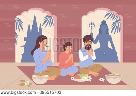Hinduism Flat Background With Indian Family Sitting In Asana Pose And Performing  Religious Ritual V