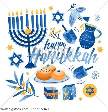 Square Greeting Card Or Postcard Template With Happy Hanukkah Lettering And Holiday Symbols And Attr