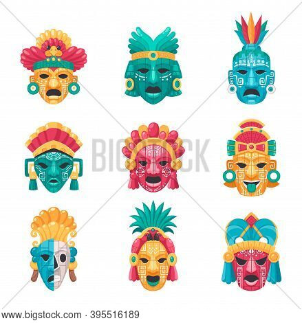 Maya Civilization Cartoon Icons Set With Tradtional Masks And Accessories Isolated Vector Illustrati
