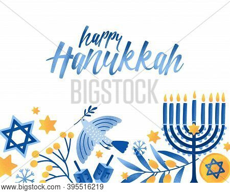 Happy Hanukkah Greeting Card Vector Template. Jewish Holiday Celebration Postcard Design. Menorah Ca