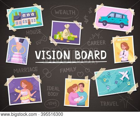 Vision Board Cartoon Background With Wealth And Family Symbols Vector Illustration