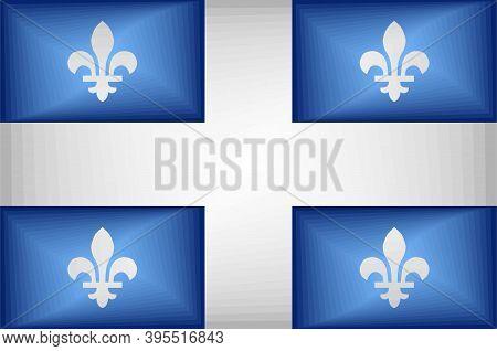 Quebec Gradient Flag - Illustration,  Three Dimensional Flag Of Quebec