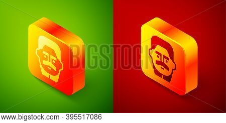 Isometric Portrait Of Joseph Stalin Icon Isolated On Green And Red Background. Square Button. Vector