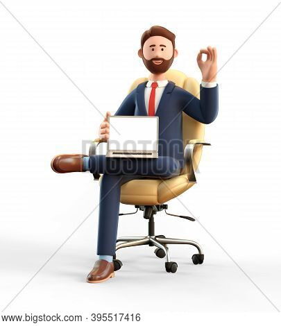 3d Illustration Of Happy Smiling Businessman Showing Blank Screen Laptop Computer And Ok Gesture. Ca