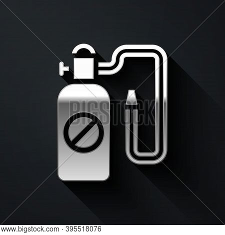 Silver Pressure Sprayer For Extermination Of Insects Icon Isolated On Black Background. Pest Control