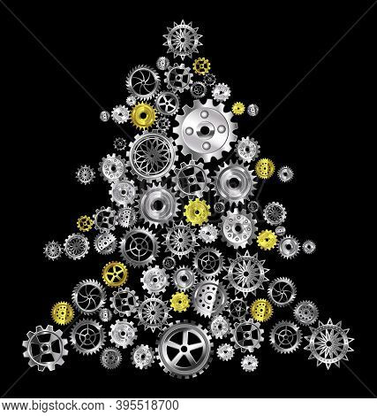 Vector Illustration Christmas Tree With Metal Gears