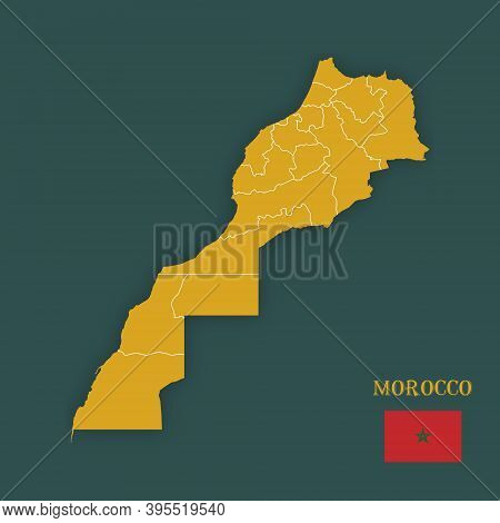 Illustration Of A Map Of Morocco - Vector
