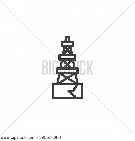 Oil Derrick Line Icon. Linear Style Sign For Mobile Concept And Web Design. Oil Rig Outline Vector I