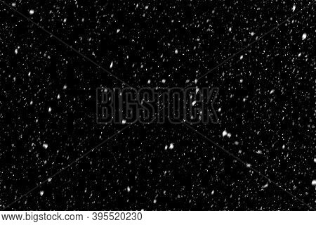 Falling Snow On Black Background. Magic Snowfall In The Christmas Night. Design Element, Multi-layer