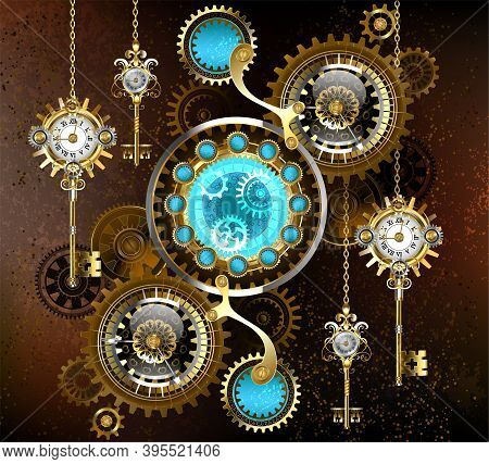 Turquoise Lenses With An Antique Watch With Brass Gears And Golden Keys On Rusty, Brown Background.