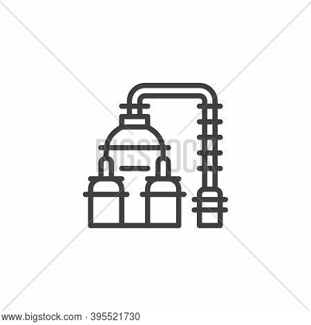Gas Processing Line Icon. Linear Style Sign For Mobile Concept And Web Design. Oil And Gas Industry