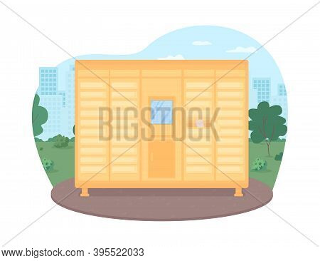 Mailboxes Row Service 2d Vector Web Banner, Poster. Parcel In Mail Box. Postboxes In City. Logistic