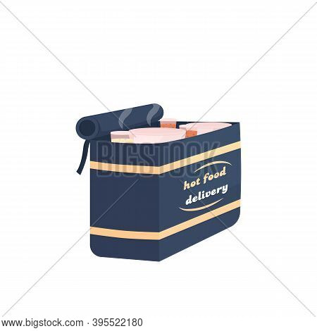 Hot Food Delivery Bag Flat Color Vector Item. Food Takeaway. Restaurant Takeout. Products In Package