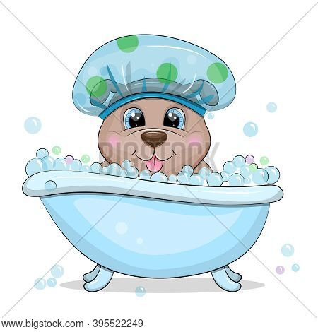 Cute Cartoon Dog Taking A Bath With Bubbles. Vector Illustration Of Animal Isolated On White.