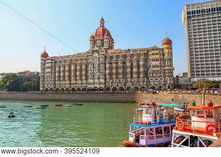 Mumbai, INDIA - December 6 : The Taj Mahal Palace Hotel is a  five-star luxury hotel, built in the Saracenic Revival style in the Colaba region of Mumbai, India.