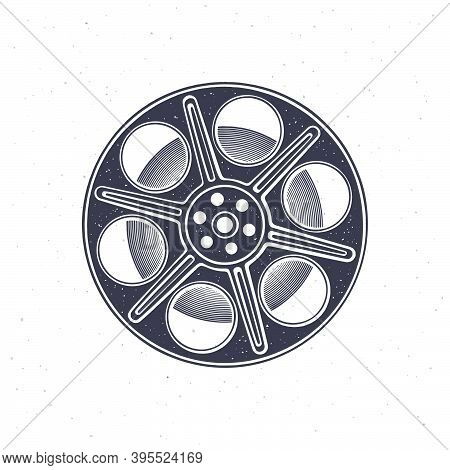 Silhouette Of Film Stock Front View. Vector Illustration. Vintage Camera Reel. Movie Industry. Retro