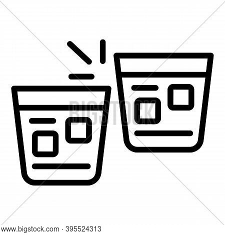 Cheers Cognac Glasses Icon. Outline Cheers Cognac Glasses Vector Icon For Web Design Isolated On Whi